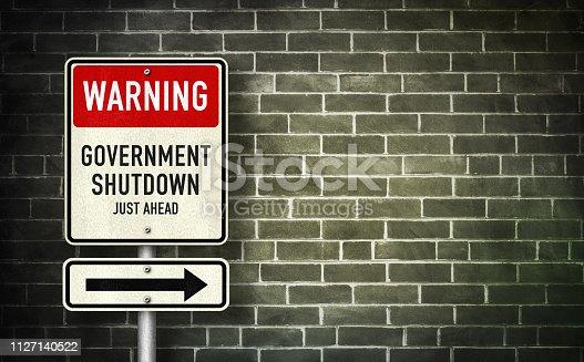 istock Warning - Government Shutdown 1127140522