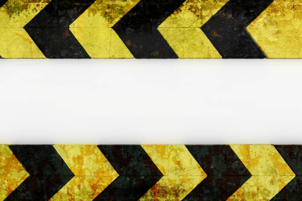 warning hazard grunge pattern in yellow and black color stock photo