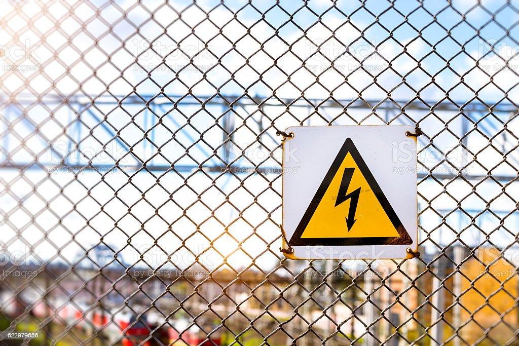 Warning high voltage symbol stock photo