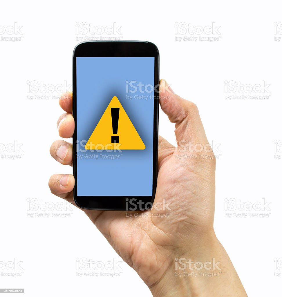 warning message on my phone stock photo