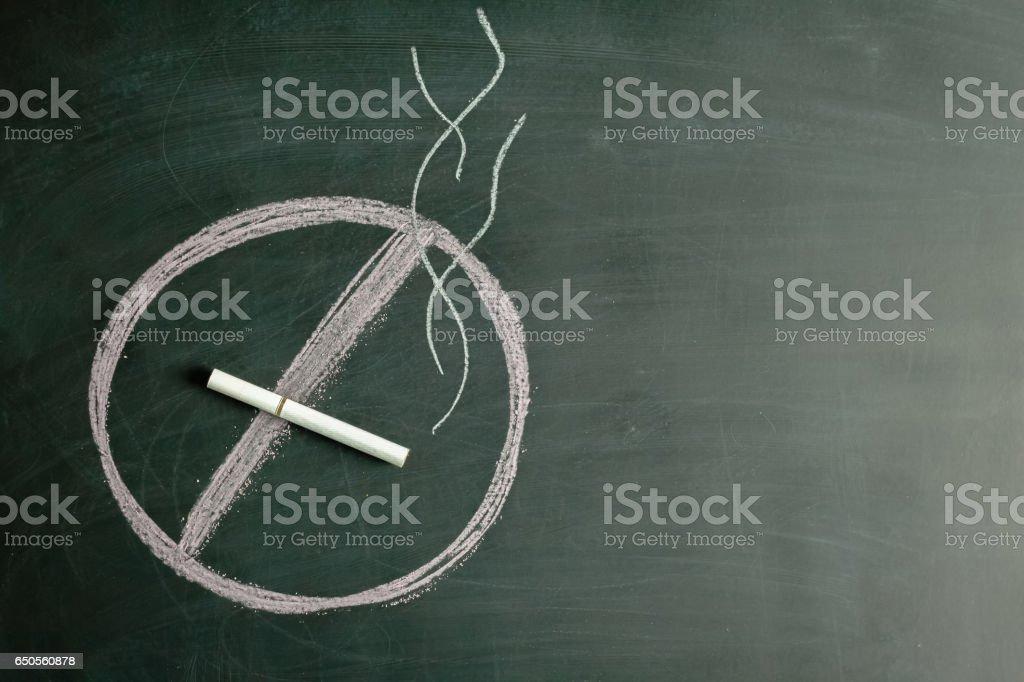 Warning 'no smoking'' written by a chalk on a blackboard stock photo
