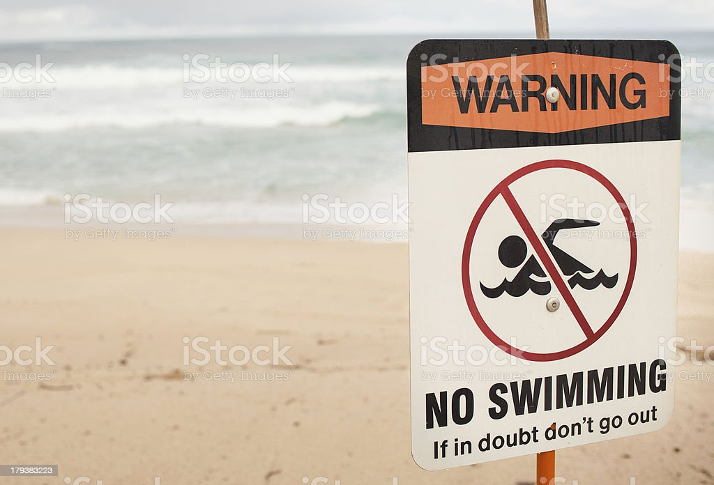 Warning No Swimming Sign stock photo