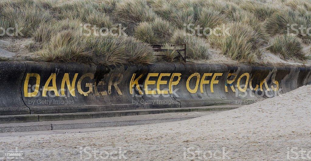 Warning notice, coastal erosion stock photo