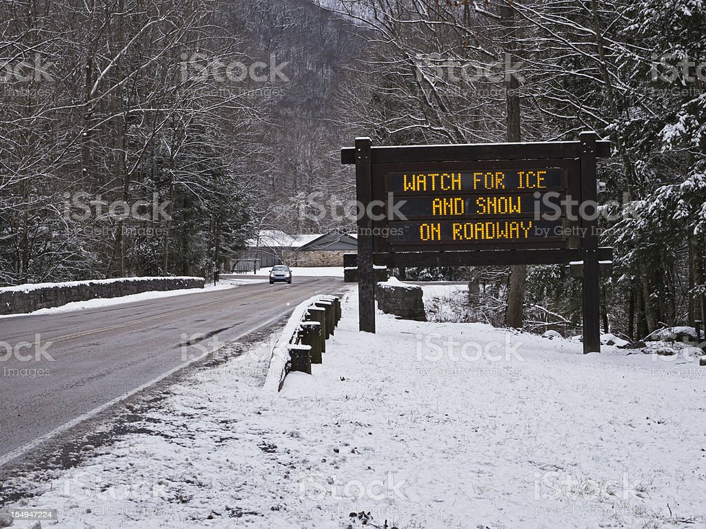 Warning of ice and snow on Smoky Mountains roads royalty-free stock photo