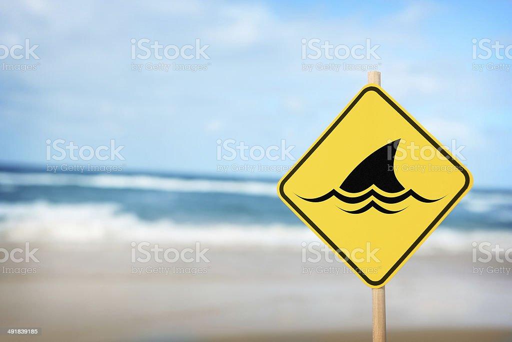 Warning of Sharks stock photo