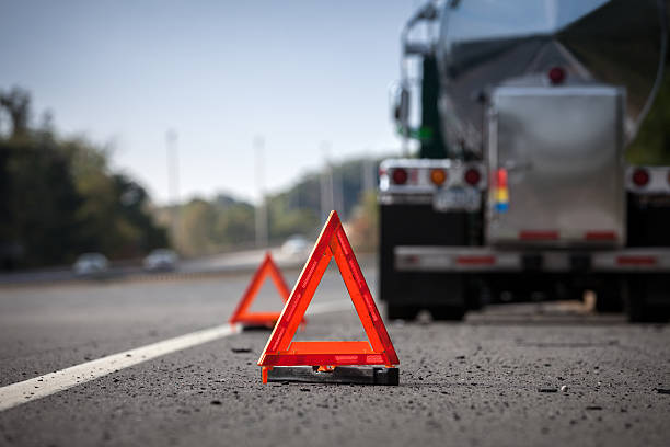 Warning Reflectors On Highway Indicating Disabled Truck stock photo