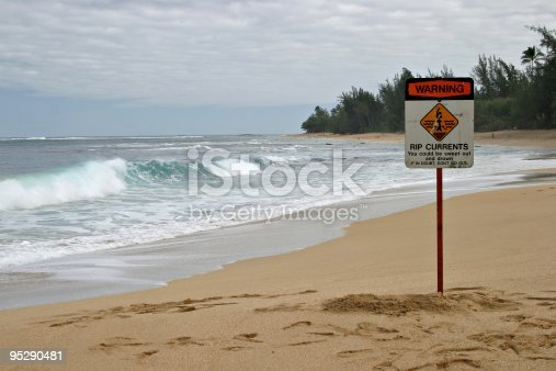 A sandy tropical beach with Rip Currents Sign and a breaking ocean wave in the background. Sign says: