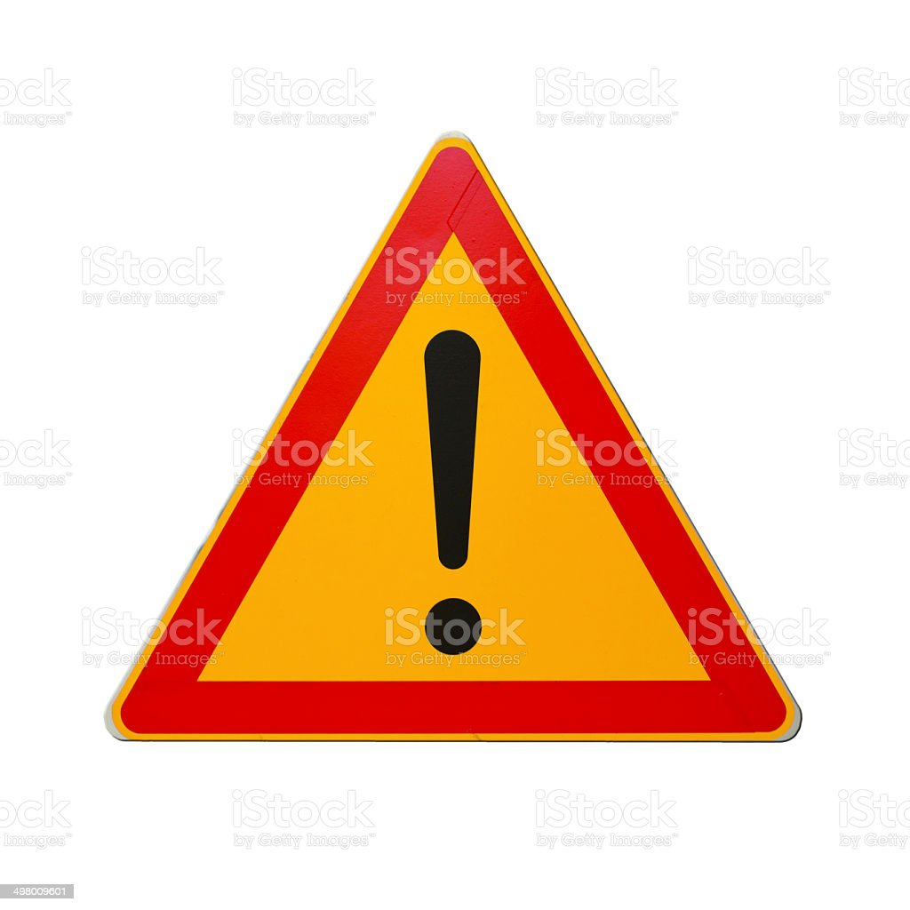 Warning road sign with exclamation mark isolated on white stock photo