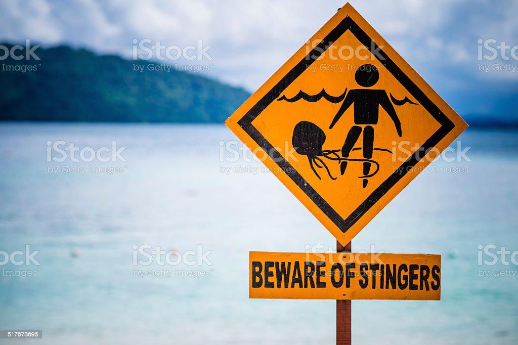 Warning Sign at Beach stock photo