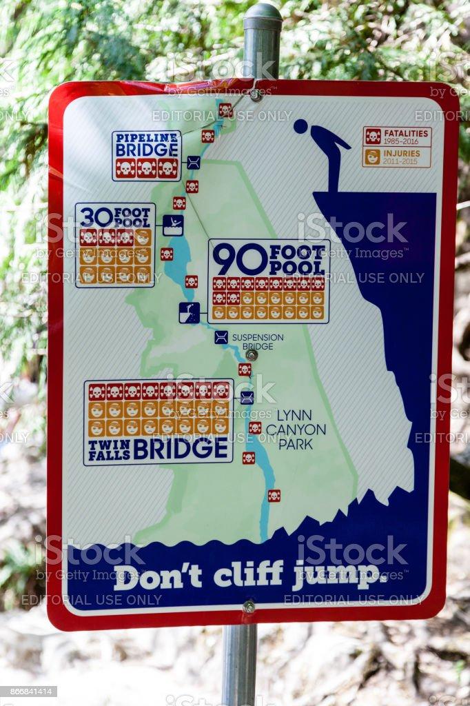Warning Sign at Lynn Canyon Park stock photo