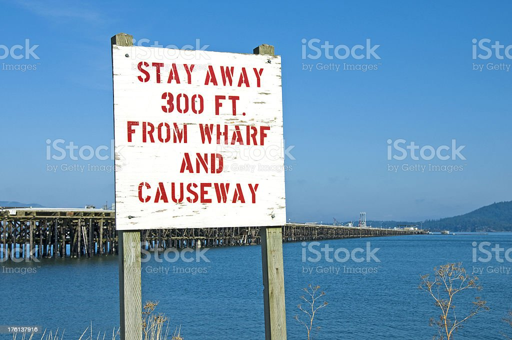 Warning sign at oil refinery royalty-free stock photo