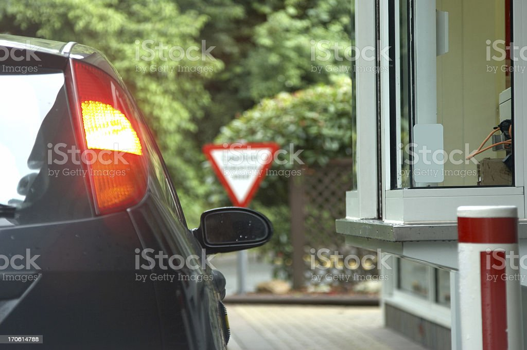 Warning sign at the fast food pickup royalty-free stock photo
