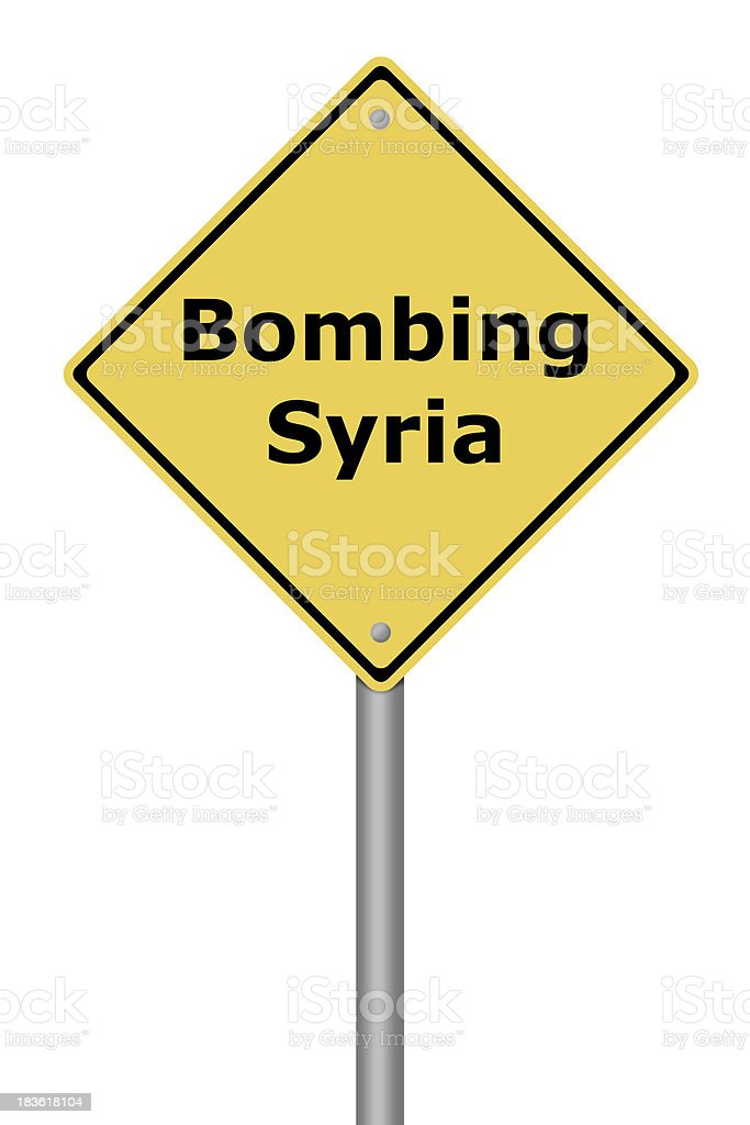 Warning Sign Bombing Syria royalty-free stock photo