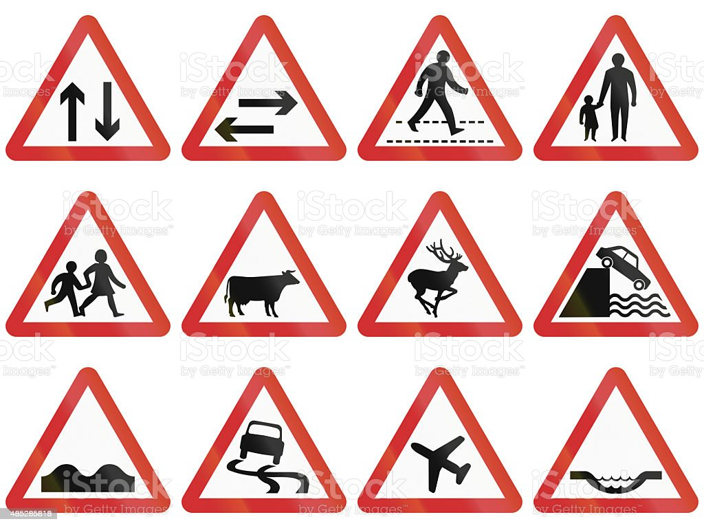 Warning Sign Collection From Nepal stock photo