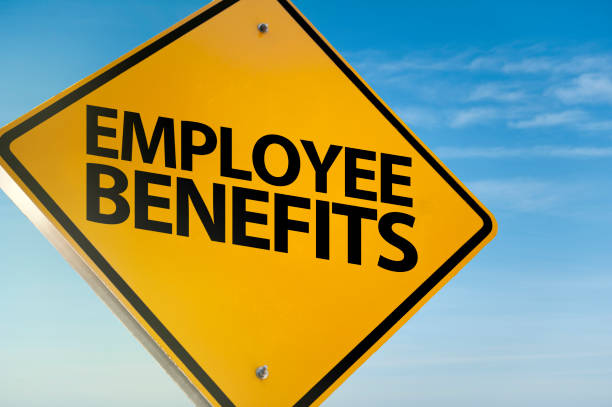 EMPLOYE BENEFITS / Warning sign concept (Click for more) stock photo