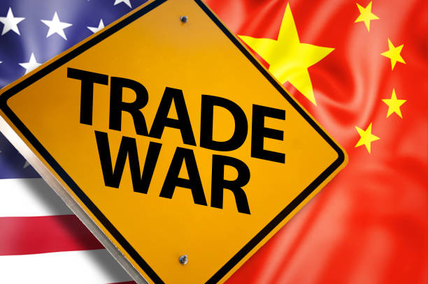 TRADE WAR / Warning sign concept with USA and China flag (Click for more) stock photo
