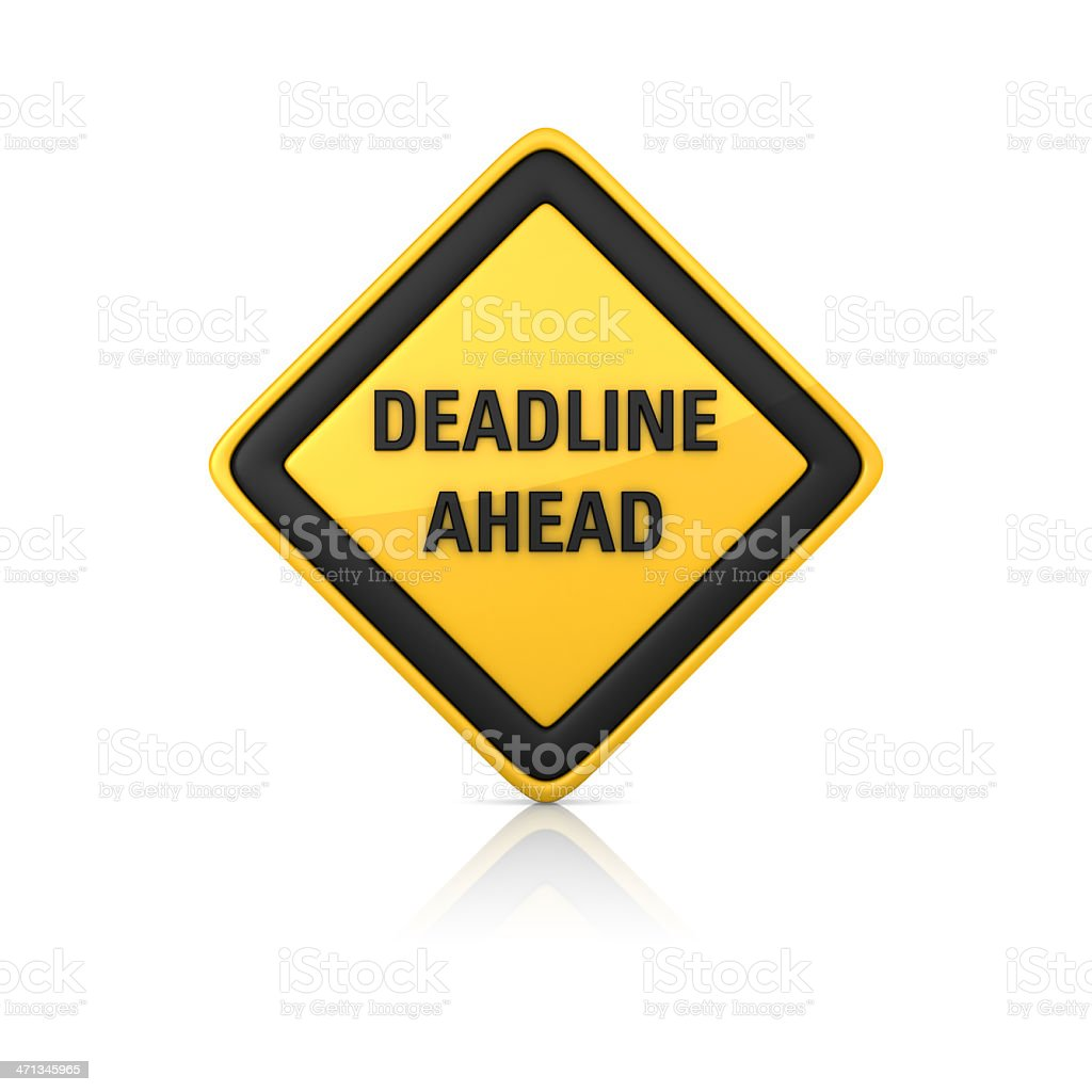 Warning Sign - DEADLINE AHEAD royalty-free stock photo