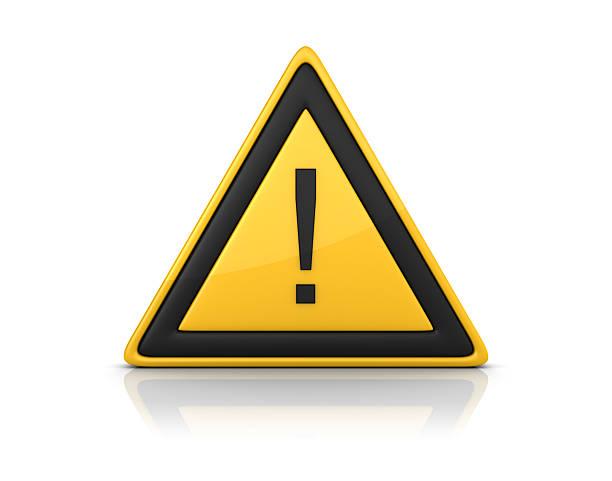 warnschild mit ausrufezeichen - fehlermeldung stock-fotos und bilder