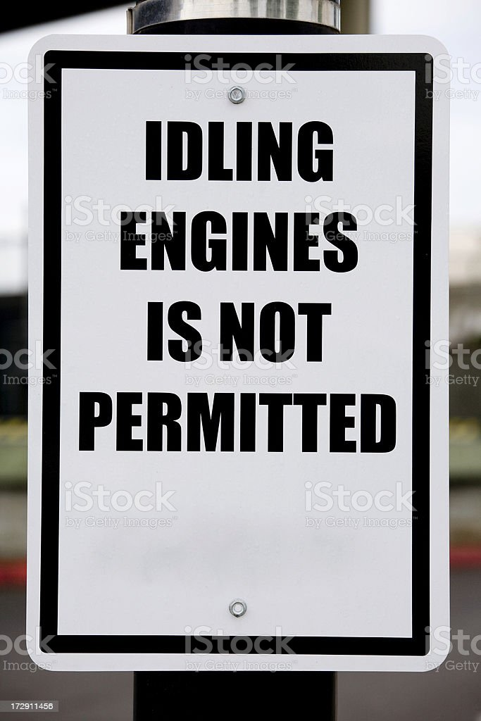 Warning sign for idling engines royalty-free stock photo