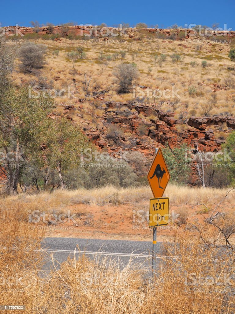 Warning sign for Kangaroo crossing at the Ormiston Gorge access road stock photo
