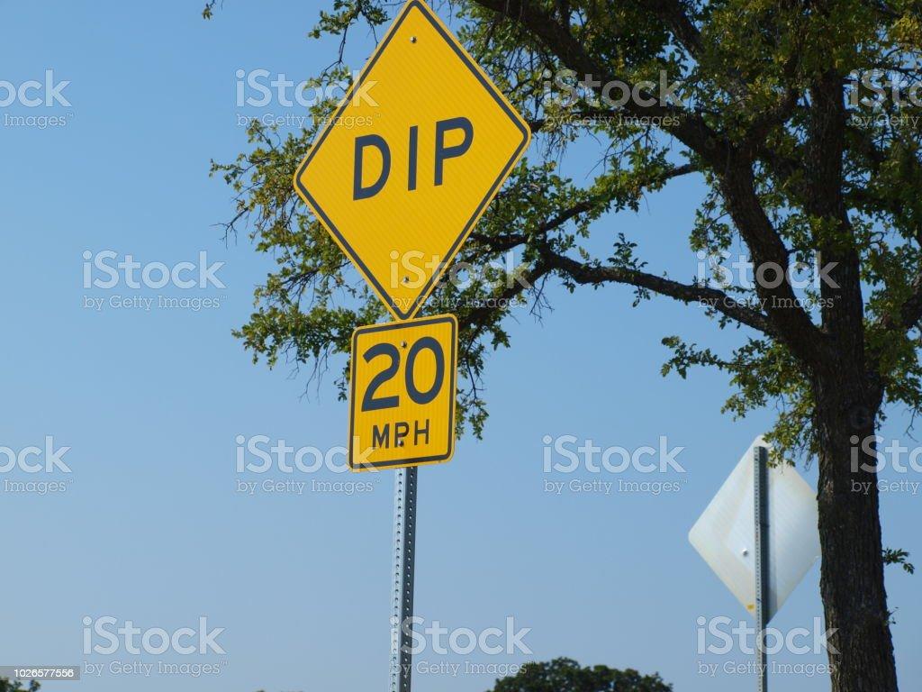 Warning Sign of Road Hazard Ahead stock photo