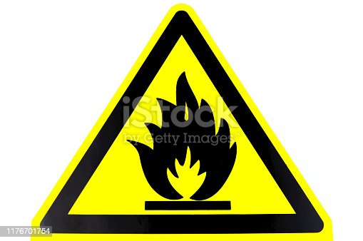 Warning sign of the danger of fire. Fire on a yellow background. Place for text.