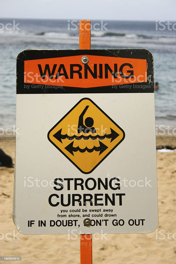 Warning sign on a beach stock photo