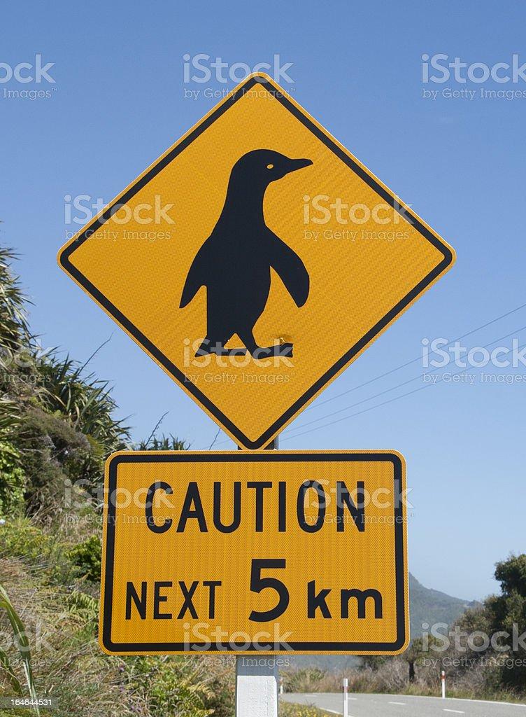 Warning sign penguin royalty-free stock photo