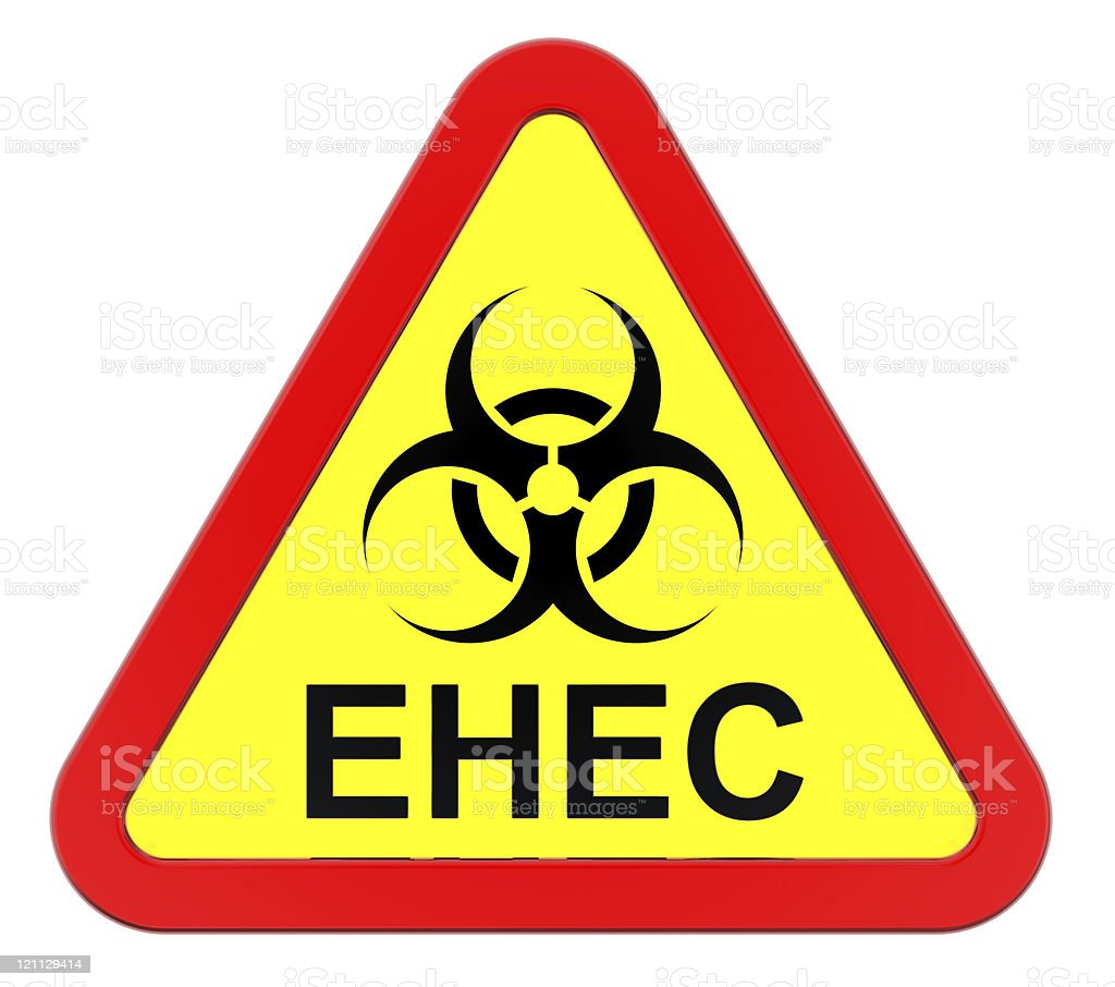 EHEC - warning sign stock photo
