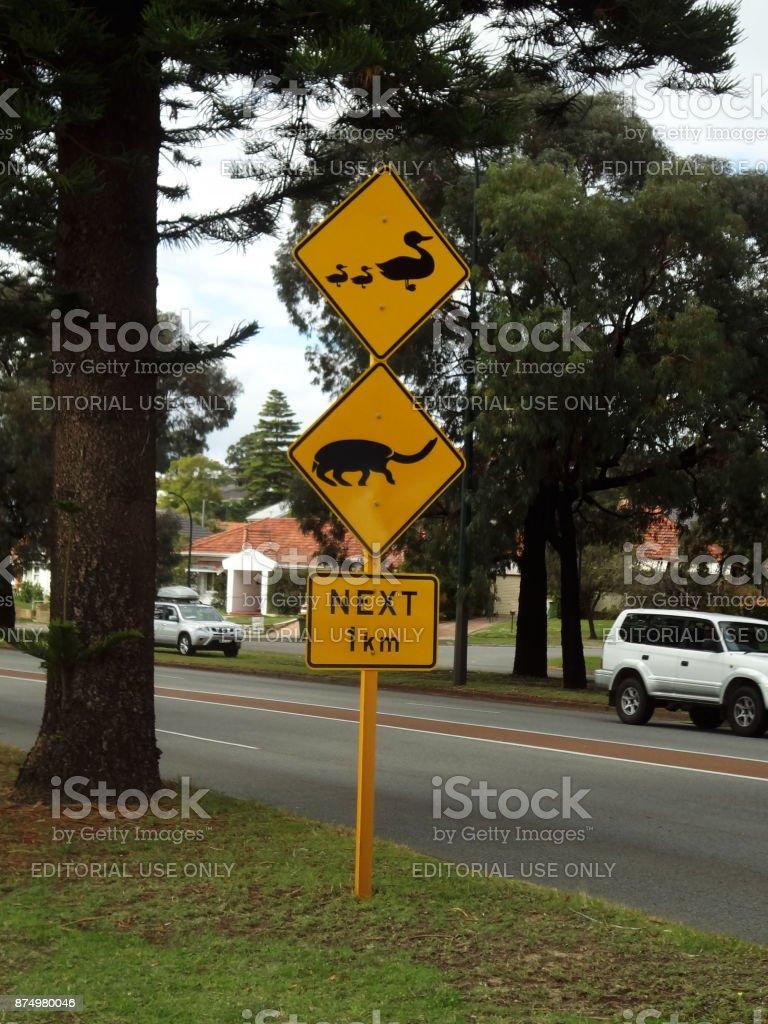 Warning sign plate in Australia stock photo