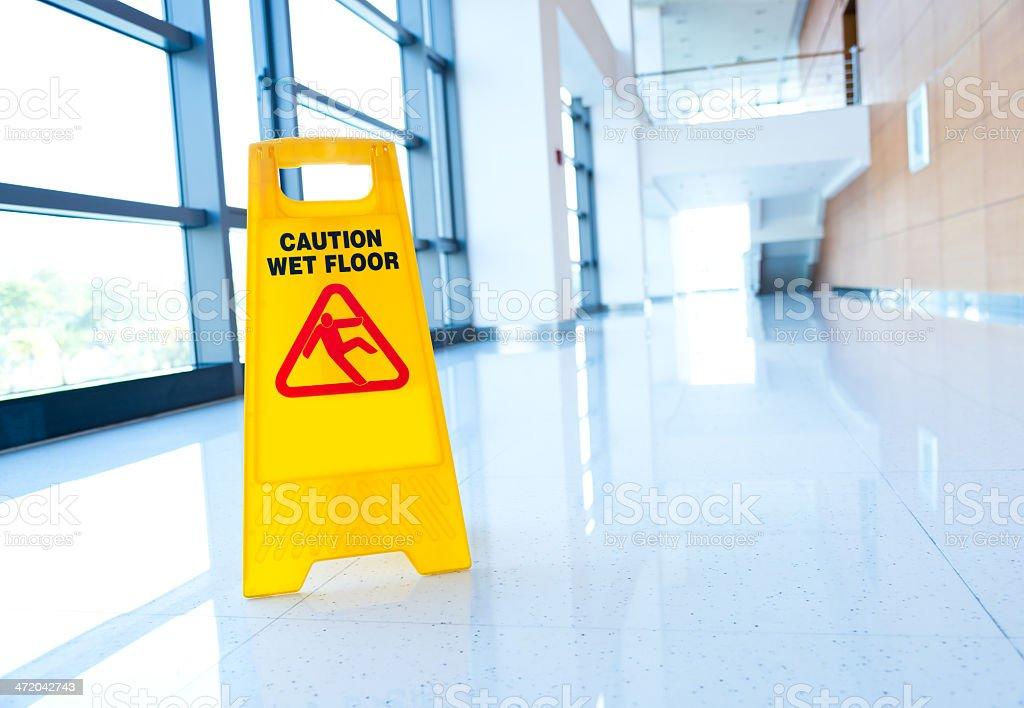 warning sign slippery stock photo