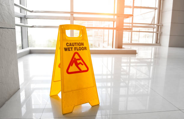 warning sign slippery - wet stock pictures, royalty-free photos & images