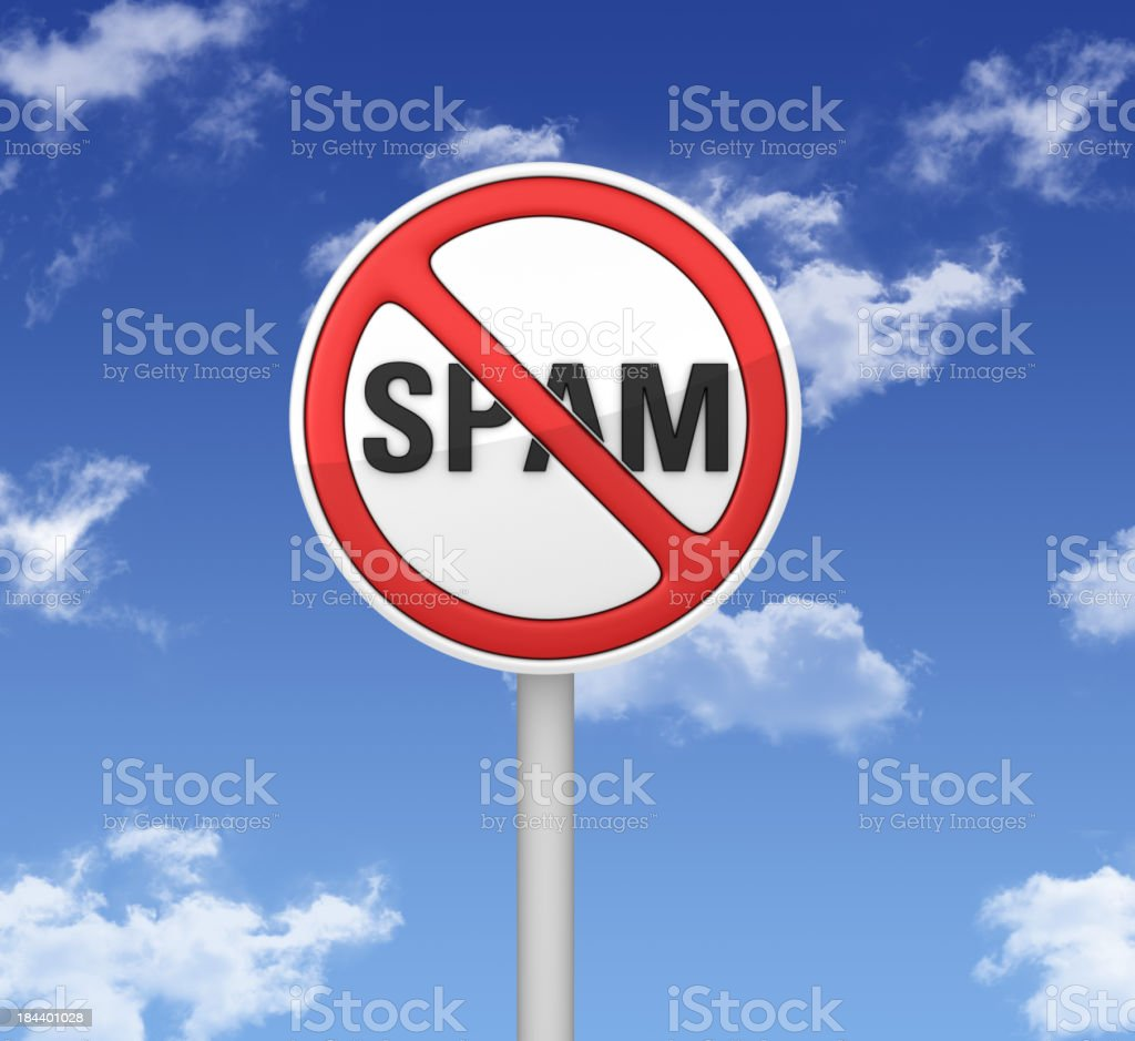 Warning Sign - SPAM No SPAM Warning Sign. Advice Stock Photo