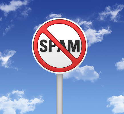 Warning Sign Spam Stock Photo - Download Image Now