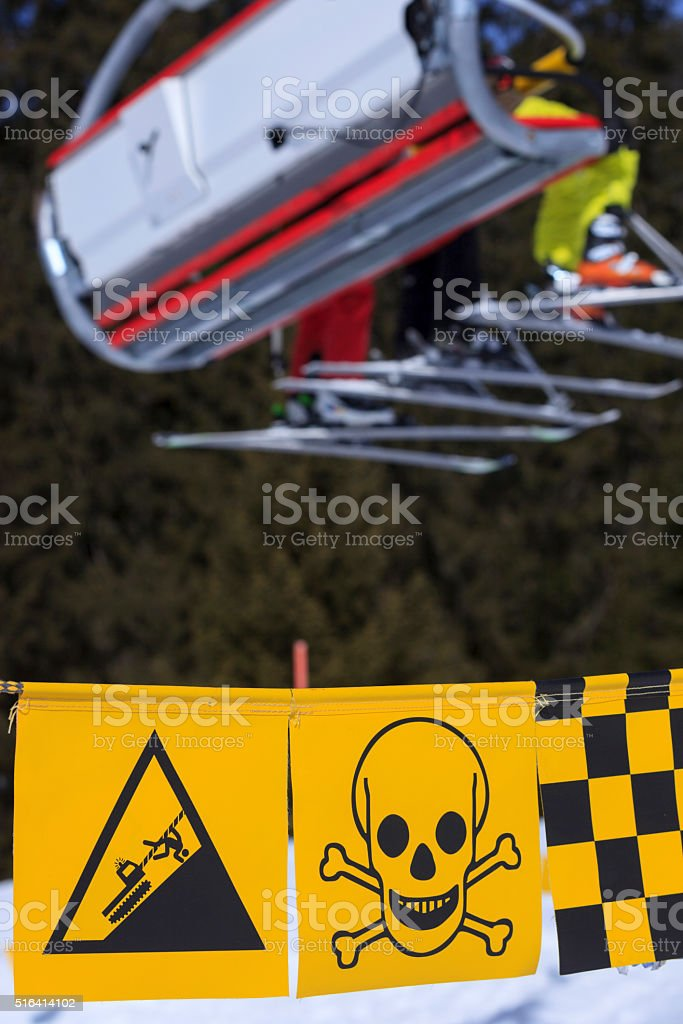 warning sign with skull and crossbones stock photo