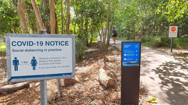Warning Signs at Noosa Heads National Park stock photo