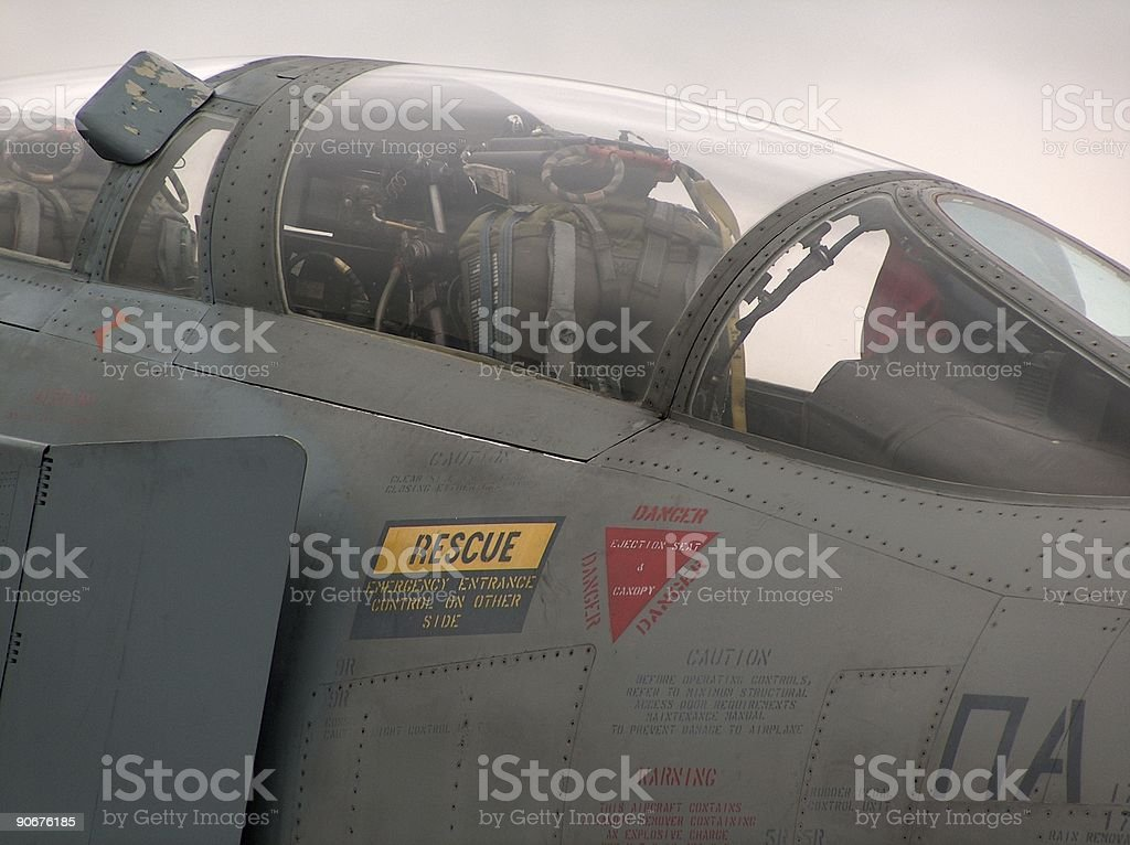 warning signs on cockpit stock photo