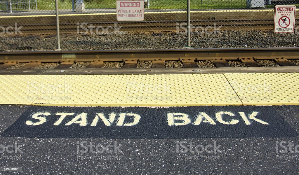 Warning signs on railway station royalty-free stock photo