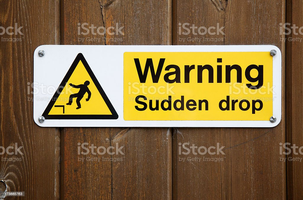 Warning Sudden Drop Sign royalty-free stock photo