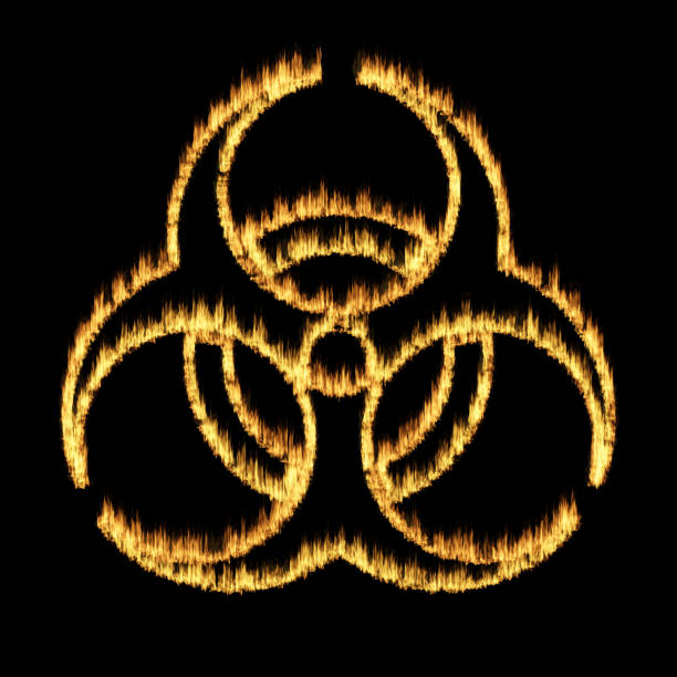Warning symbol of a biohazard sign from flames stock photo