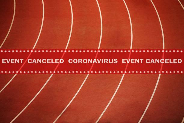 evento de cinta de advertencia cancelado coronavirus - foto de stock