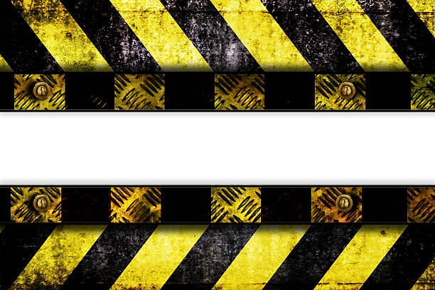 Warning zone pattern in front of white background stock photo