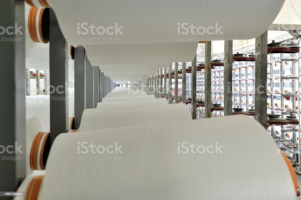 Warping machine  in a textile factory stock photo