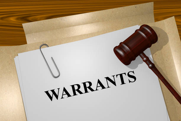 Warrants concept Render illustration of Warrants title on Legal Documents arrest stock pictures, royalty-free photos & images
