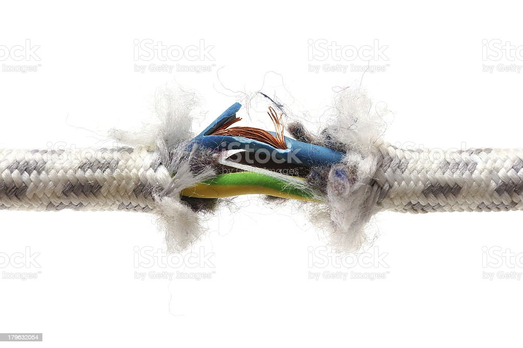 warranty problem concept with torn wire stock photo