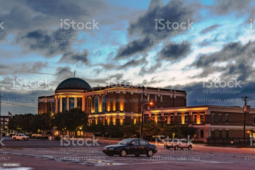 Warren County Justice Center at dusk stock photo