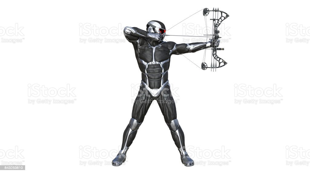 Warrior Archer, futuristic soldier with bow and arrow isolated on white, 3D illustration stock photo