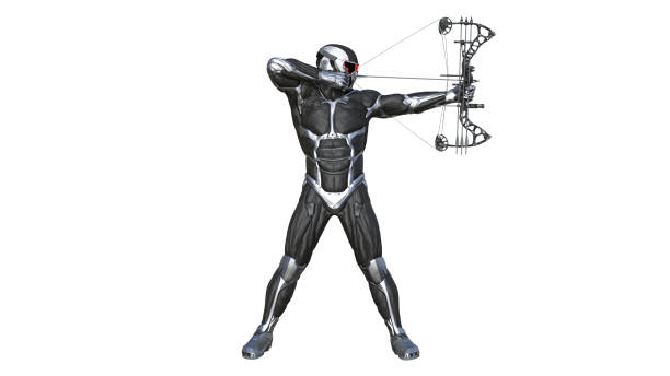 warrior archer, futuristic soldier with bow and arrow isolated on white, 3d illustration - helmet visor stock photos and pictures
