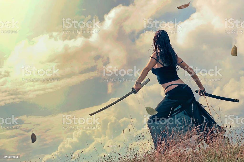 Warrior assassin stock photo