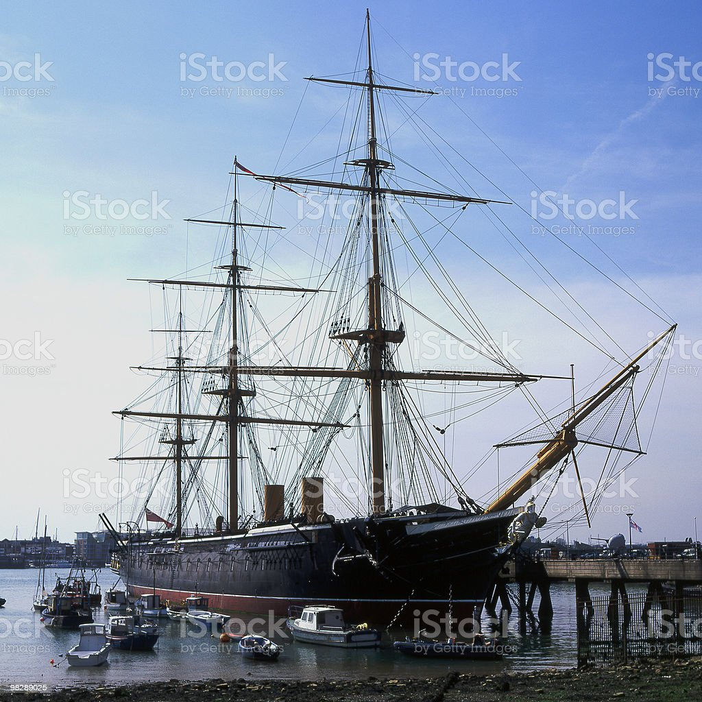 HMS 전사 at 역사적이다 조선소, Portsmouth, Hampshire, England royalty-free 스톡 사진